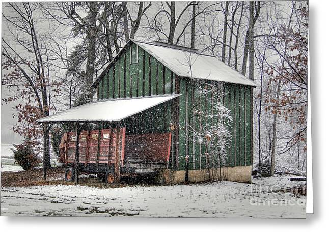 Hay Bales Greeting Cards - Green Tobacco Barn Greeting Card by Benanne Stiens