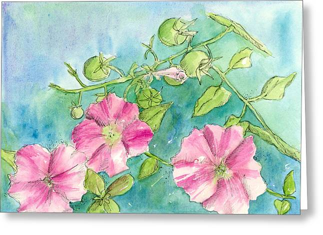 Tomato Drawings Greeting Cards - Green Tomatoes  Greeting Card by Cathie Richardson