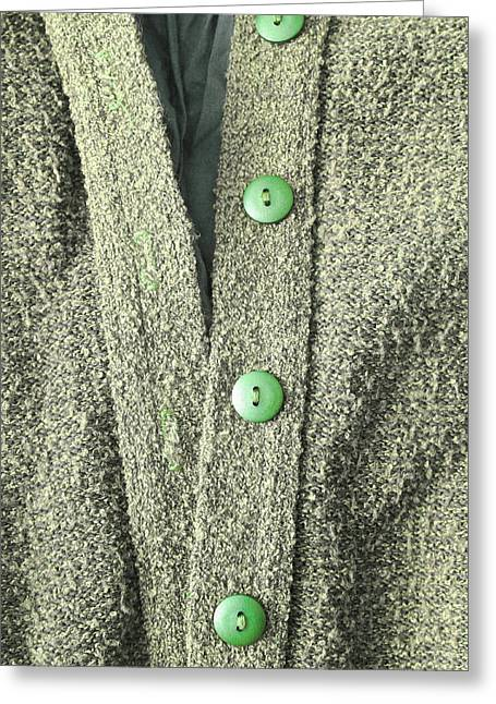 Knitwear Greeting Cards - Green top Greeting Card by Tom Gowanlock