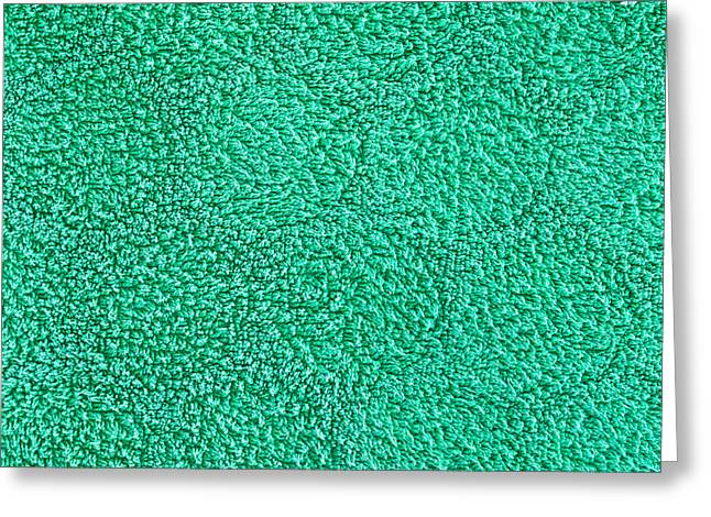 Towelling Greeting Cards - Green towel Greeting Card by Tom Gowanlock