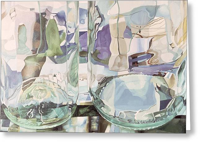 Refraction Greeting Cards - Green Transparency Transparence Verte 1981 Oil On Canvas Greeting Card by Jeremy Annett