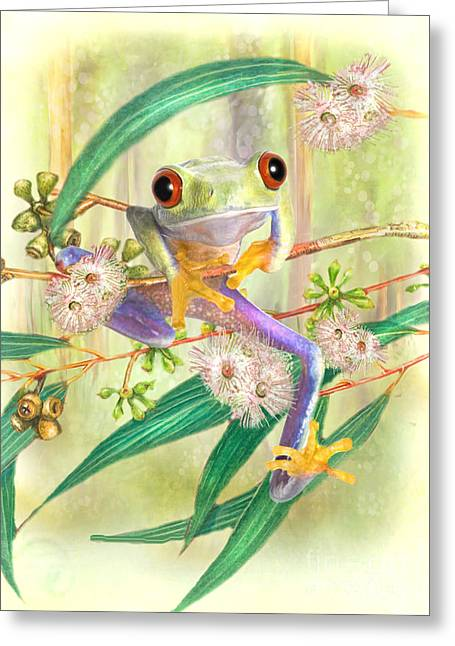 Tree Frog Greeting Cards - Green Tree Frog Greeting Card by Trudi Simmonds