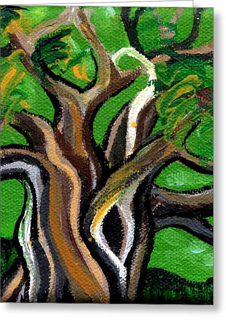 Plant Stretched Canvas Greeting Cards - Green Tree Greeting Card by Genevieve Esson