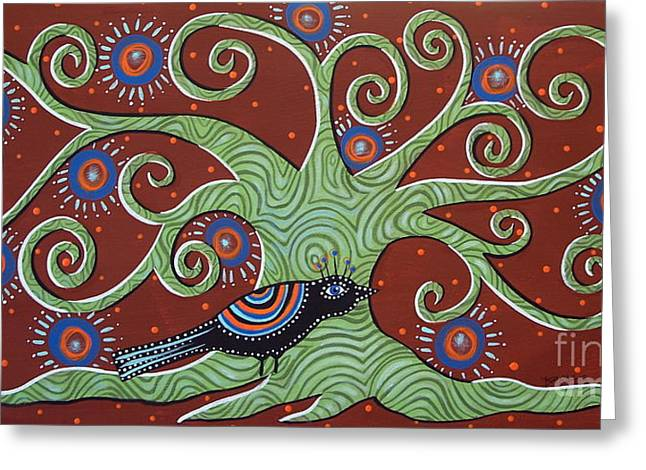 Abstract Prints For Sale Paintings Greeting Cards - Green Tree Greeting Card by Karla Gerard