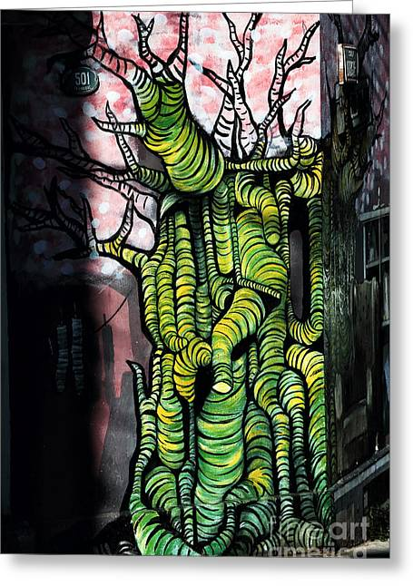 Green Chile Greeting Cards - Green Tree on the Wall Greeting Card by John Rizzuto