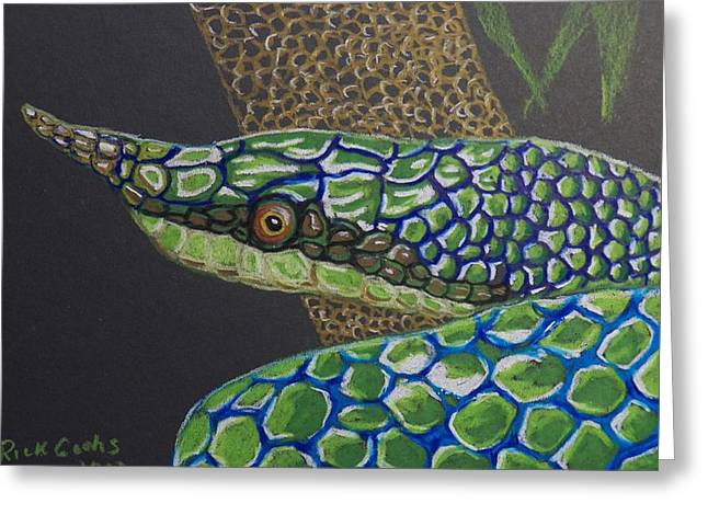 Whip-snake Greeting Cards - Green Tree Snake Greeting Card by Richard Goohs