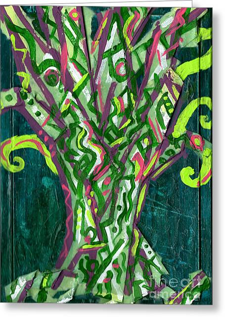 Esson Genevieve Esson Greeting Cards - Green Tree With Pink Greeting Card by Genevieve Esson