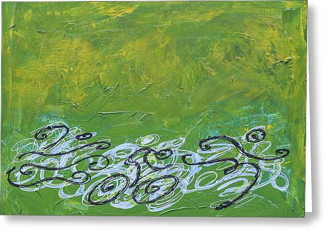 Ironman Paintings Greeting Cards - Green Triathlon Sequence Greeting Card by Alejandro Maldonado