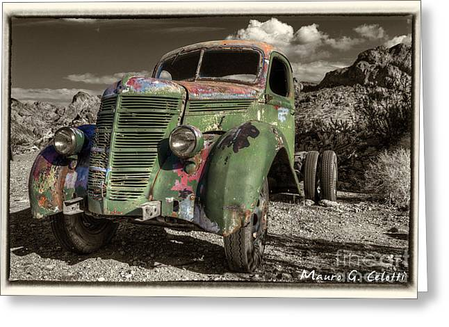 Abstract Digital Pyrography Greeting Cards - Green Truck Greeting Card by Mauro Celotti