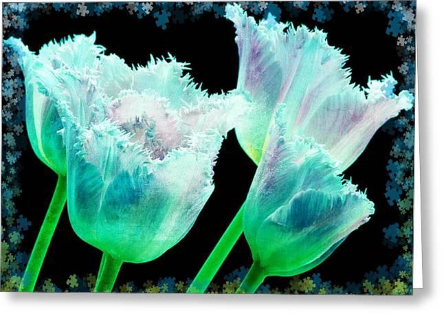 Tulip Tree Greeting Cards - Green Tulip Glow Greeting Card by Debra  Miller