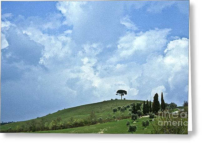 Tuscan Hills Photographs Greeting Cards - Green Tuscan hills Greeting Card by Heiko Koehrer-Wagner