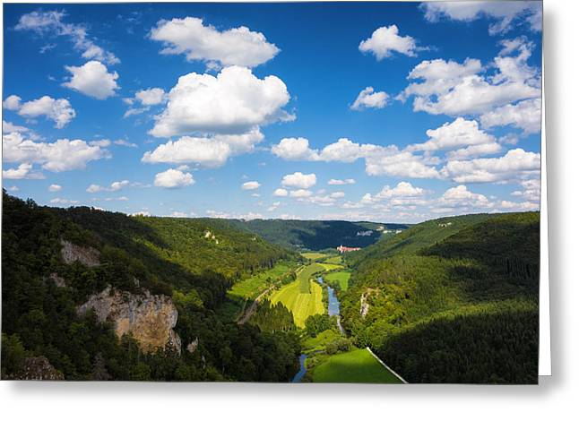 Deutschland Greeting Cards - Green valley and blue sky with white clouds Greeting Card by Matthias Hauser