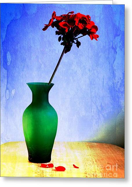 Tabletop Digital Art Greeting Cards - Green Vase 2 Greeting Card by Donald Davis