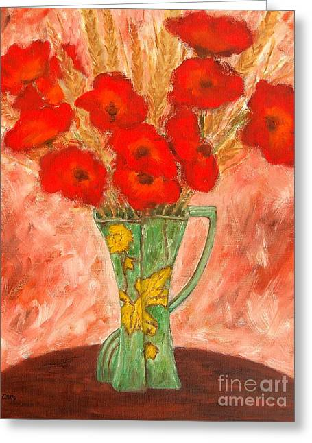 Modern Mobile Greeting Cards - Green Vase And Poppies Greeting Card by Patrick J Murphy
