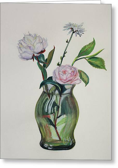 Olive Green Pastels Greeting Cards - Green Vase with Pink Camillia and White Peony Greeting Card by Asha Carolyn Young