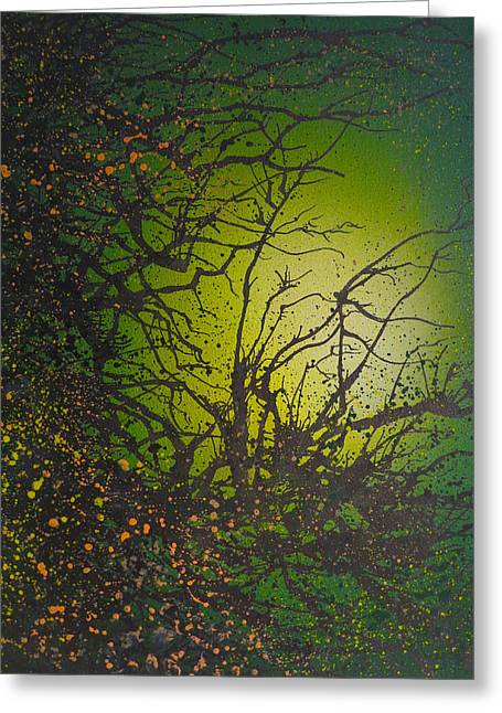 Stippling Paintings Greeting Cards - Green Vibes Greeting Card by Emma Childs