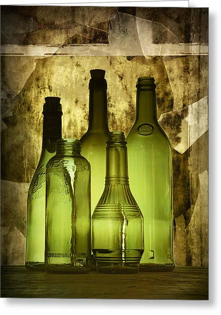 Fine Bottle Greeting Cards - Green Vintage Bottles Fine Art Decor Photograph Greeting Card by Randall Nyhof