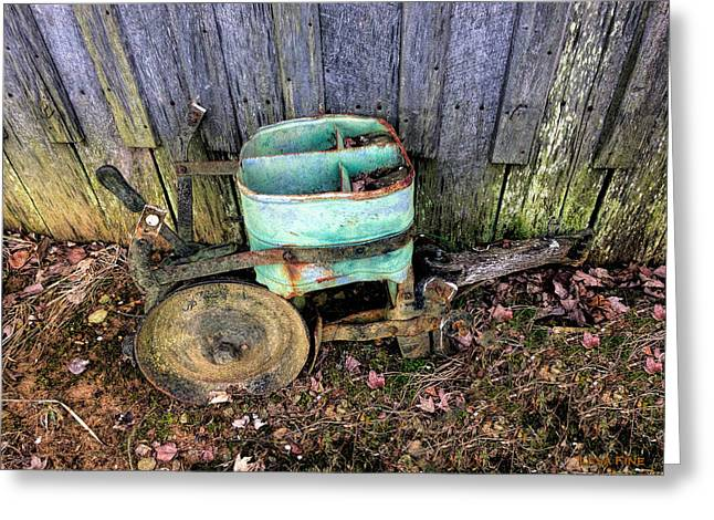 Farming Greeting Cards - Green Vintage Seeder 4 - Color HDR Greeting Card by Lesa Fine