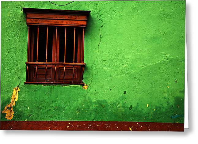 American Colonial Architecture Greeting Cards - Green Wall Greeting Card by Jess Kraft