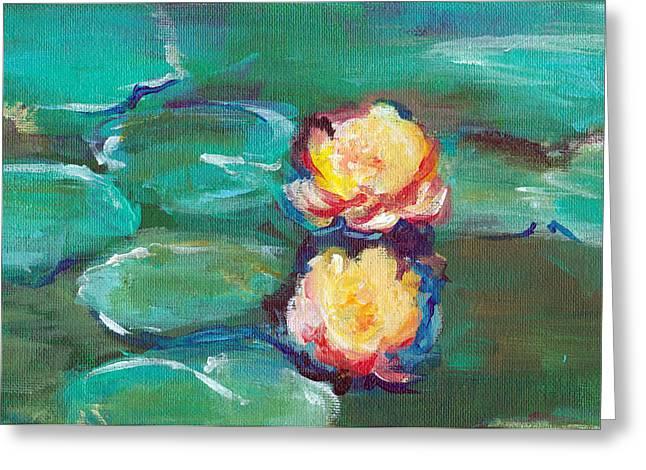 Algae Paintings Greeting Cards - Green Water Lilies Greeting Card by Lauren Heller
