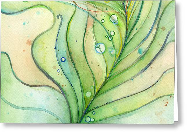 Texture Greeting Cards - Green Watercolor Bubbles Greeting Card by Olga Shvartsur