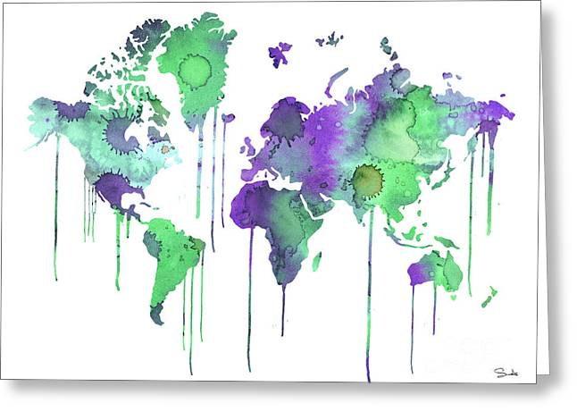 Green Posters Greeting Cards - Green WATERCOLOR MAP Greeting Card by Luke and Slavi
