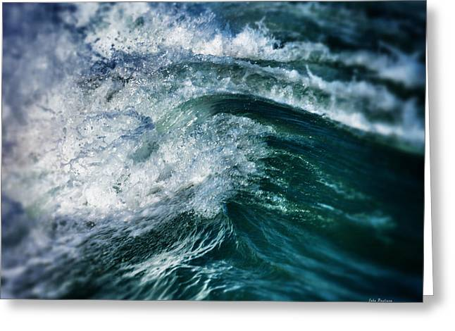 Atlantic Beaches Greeting Cards - Green Wave Greeting Card by John Pagliuca