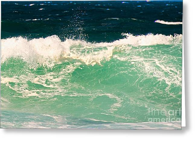 California Beaches Greeting Cards - Green Wave Pacific Grove CA  Greeting Card by Artist and Photographer Laura Wrede