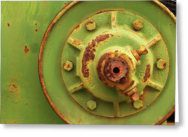 Industrial Gears Greeting Cards - Green Wheel with Belt Greeting Card by Art Block Collections