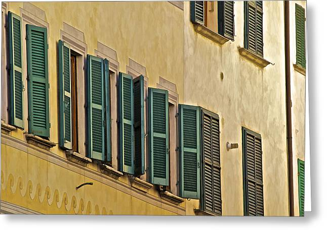 Carved Stone Greeting Cards - Green Window Shutters of Florence Greeting Card by David Letts