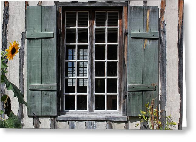 """oldest Wood Building"" Greeting Cards - Green Window with Sunflower Greeting Card by Mary Bedy"