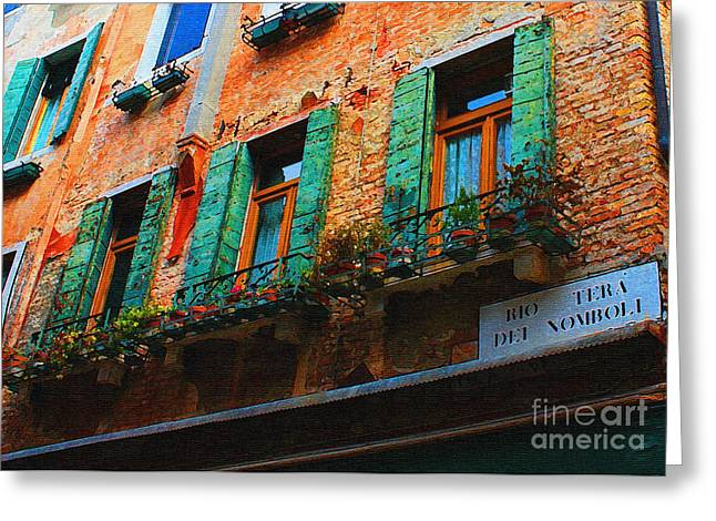 Shudder Greeting Cards - Green Windows Venice Greeting Card by Christine  Dekkers
