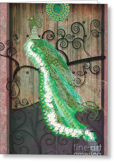 New Age Greeting Cards - Green Winged Peacock Greeting Card by Kim Prowse