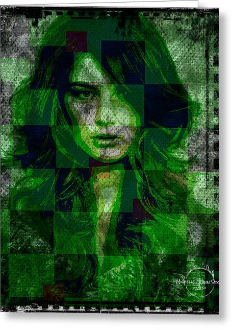 Gray Hair Greeting Cards - Green With Envy Greeting Card by Absinthe Art By Michelle LeAnn Scott