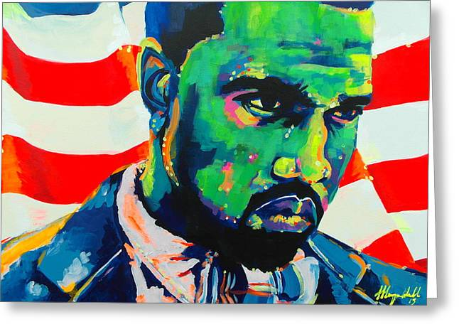 Kanye West Paintings Greeting Cards - Green With Envy Yeezus Greeting Card by Miss Anna Hall