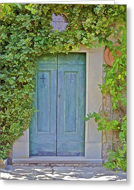 Medieval Village Greeting Cards - Green Wood Door of Tuscany Greeting Card by David Letts