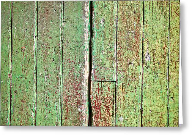 Pealed Greeting Cards - Green wood Greeting Card by Tom Gowanlock