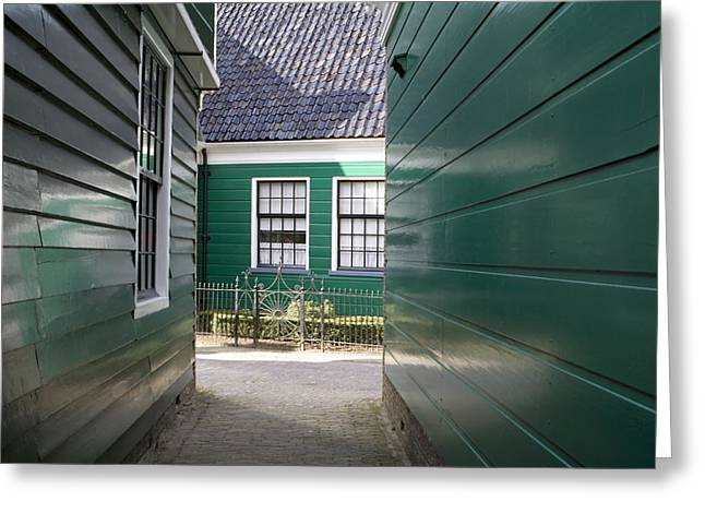 Zaans Greeting Cards - Green wooden houses Greeting Card by Ronald Jansen