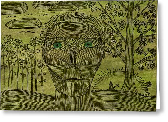 Green World Greeting Card by Sean Mitchell
