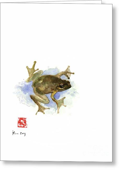 Green Yellow Blue Frog Lake River Animal World Water Colors Jewel Collection Greeting Card by Johana Szmerdt