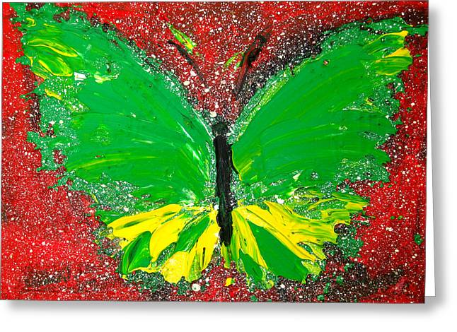 Green And Yellow Abstract Greeting Cards - Green Yellow Butterfly with red background Greeting Card by Patricia Awapara