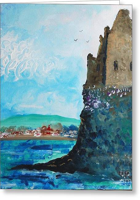 Fawn Mixed Media Greeting Cards - Greenan Castle Sctland Greeting Card by Janet Fraser Mckinlay