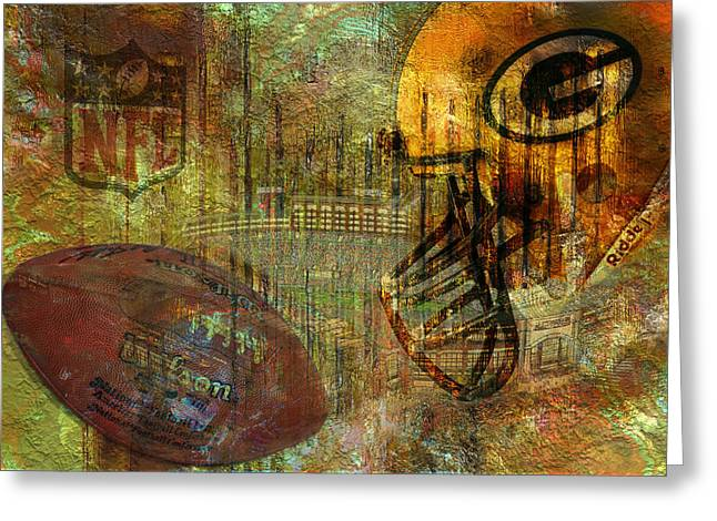 Greenbay Packers Greeting Card by Jack Zulli