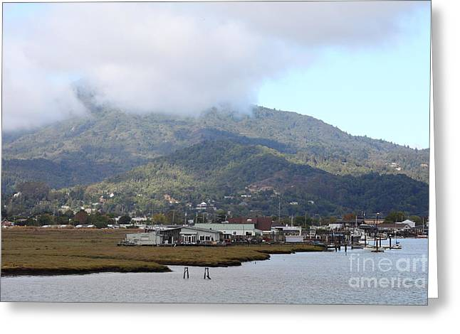Greenbrae California Boathouses At The Base Of Mount Tamalpais 5d293506 Greeting Card by Wingsdomain Art and Photography