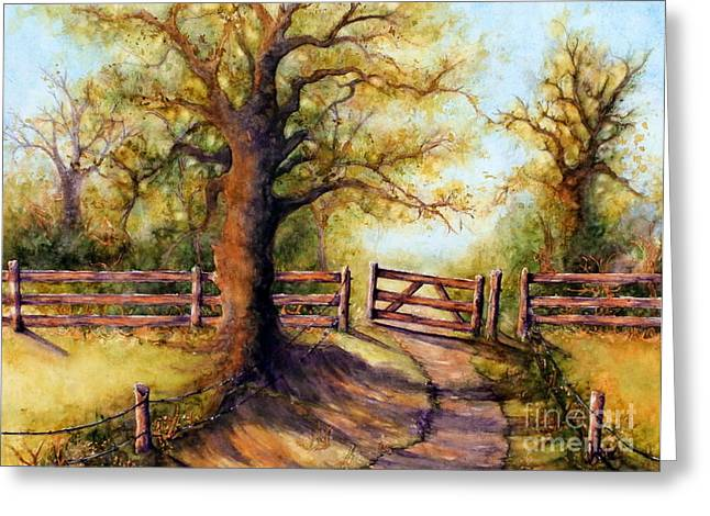 Pasture Scenes Paintings Greeting Cards - Greener Pastures Greeting Card by Janine Riley