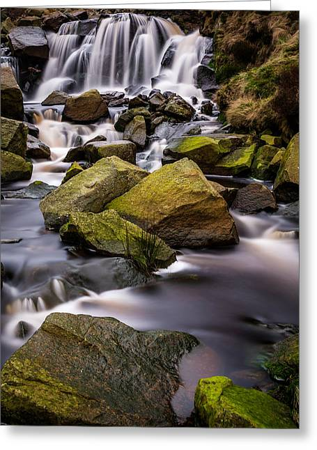 Calm Greeting Cards - Greenfield Brook Waterfall. Greeting Card by Daniel Kay