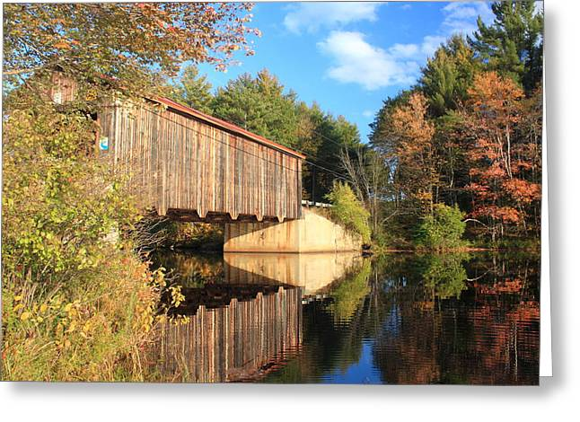 Covered Bridge Greeting Cards - Greenfield New Hampshire Covered Bridge and Contoocook River Greeting Card by John Burk