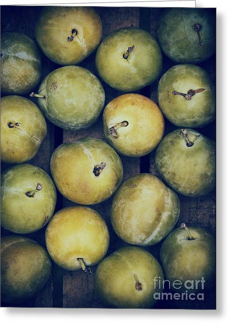 Wooden Box Greeting Cards - Greengages Greeting Card by Tim Gainey
