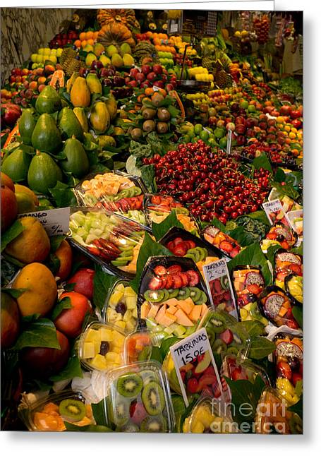 Greengrocer Stand Greeting Card by Eszter Kovacs