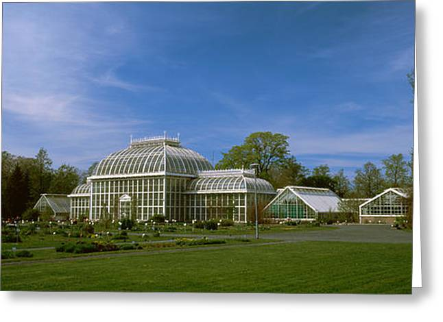 Garden Scene Photographs Greeting Cards - Greenhouse In A Botanical Garden Greeting Card by Panoramic Images